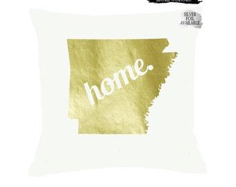 Arkansas Home Pillow CHOOSE COLORS, Custom State Pillow, College Dorm, Housewarming Moving Gift, Wedding Gift, Arkansas sign,