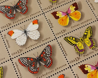 Vintage Postage featuring Butterflies, Butterfly Stamps, Face Value 13 Cents Each, Full sheet of 50 Unused Stamps
