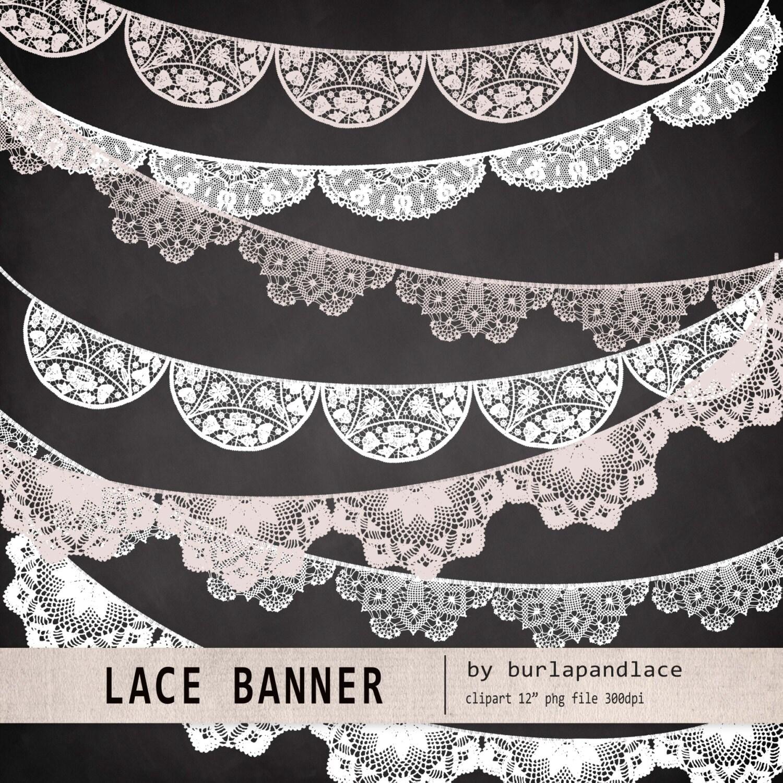 Lace banner wedding invitation clipart Clipart lace lace