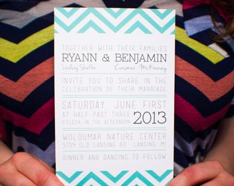 Custom Chevron Invitation - PRINTABLE