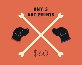 5 Art Prints Special - Five wall art prints