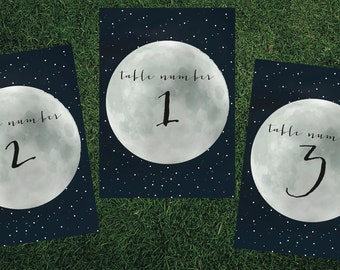 Constellation Lunar Moon Table Number // Printed Set // Wedding Decor, Constellation Wedding, Modern Wedding Decor