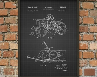Tractor Patent Print - Agriculture Poster - Farm Equipment Wall Art