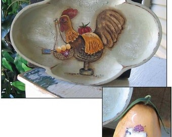 Textured Rooster and Pear - by Terrye French, E-Pattern