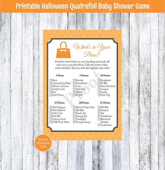 halloween quatrefoil baby shower what 39 s in your purse game printable