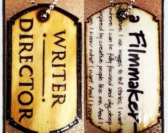 """Writer/Director Dog Tag with """"Filmmaker"""" graphic back"""