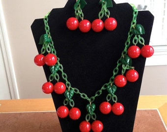 Vintage Cherry Necklace and Matching Earrings