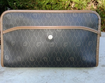 Authentic Christian Dior Brown Leather Dior Monogram Clutch Vintage 1980s