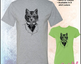 Gentleman Cat image Tshirt • VINTAGE animal line art drawing of Hipster cat • Dyed onto item g420 or g420L