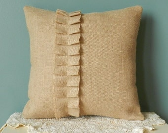 "14"" Burlap Throw Pillow Cover- Decorative burlap pillow Cover, burlap accent pillow, decorative pillow,burlap ruffle pillow"