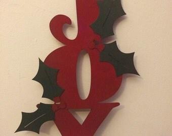 Metal Joy Yard Stake Christmas Decoration - Outdoor Metal Art