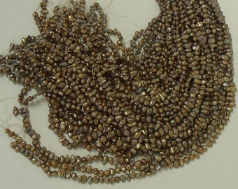 Copper Keishi freshwater pearl loose craft bead strand B4055