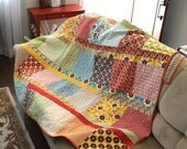 "Modern quilt pattern - ""Boho Chic"" - Easy & fun quilt using precuts - Layer Cake squares, Jelly Roll strips - 64""x70"" - Instant download PDF"