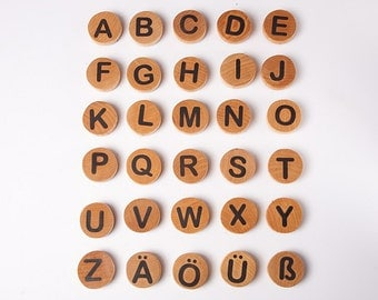 Wooden German Letter Magnets, montessori alphabet magnets, children wooden toys, waldorf , educational game, kids christmas gift