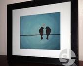 Love Birds Acrylic Painting Print - Printable Wall Art Decor - animal nature art - home decor - Instant Download