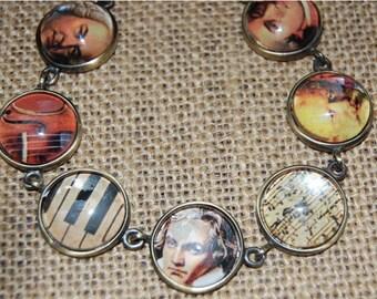 Handmade Artisan Musician Bracelet - Beethoven, Mozart etc...