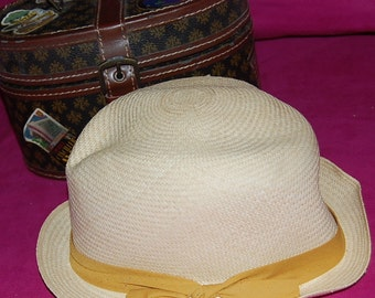 Authentic Panama Hat From Becal Yucatan-Yellow  Ribbon-Made in Underground Cave