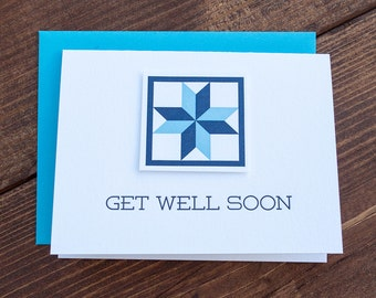 Get Well Soon. Quilt Letterpress Greeting Card
