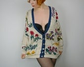 SALE Vintage cotton GARDEN floral oversized cardigan romantic BOTANICAL pattern country rustic heritage cottage chic grunge slouch sweater L