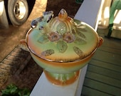 Rare BETSON Pedestal Covered Compote, Outstanding Condition, Fragile, Delicate, 1950s, Hand-Painted with Gorgeous Use of Color, Gilt Accents