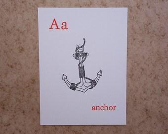 Letterpress Anchor Print