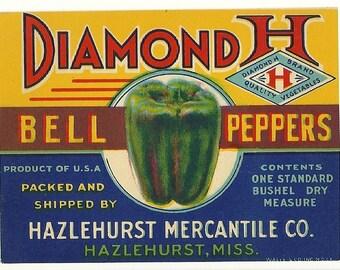 Original Vintage Diamond H Brand Bell Peppers Crate Label From Hazelhurst Mercantile Hazelhurst, Mississippi