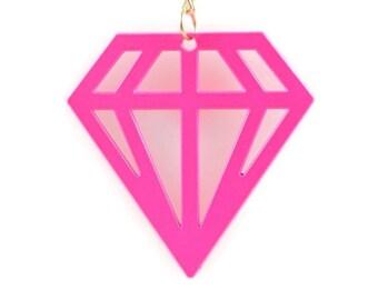 NEON DIAMOND PENDANT  - Fluorescent Neon Pink Diamond Cut Out Pendant Charm (4.7cm x 4.7cm)