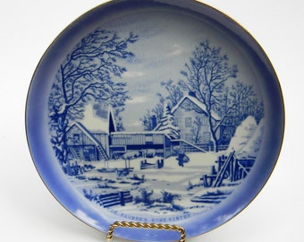 Currier & Ives The Farmer's Home In Winter Collector Plate, Vintage Decor, Wall Hanging