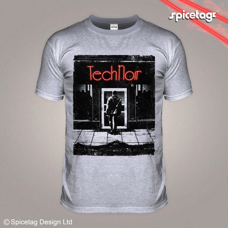 Tech noir 80s retro t shirt night club action movie film robot for Film noir t shirts