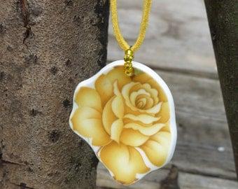 yellow rose - china rose - rose pendant - vintage china jewellery - eco jewellery - upcycled china - broken plate jewellery - wedding