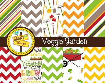 Vegetable Garden Digital Papers - Vegetables - Gardening Backgrounds for Invitations, Card Design, Scrapbooking, and Web Design