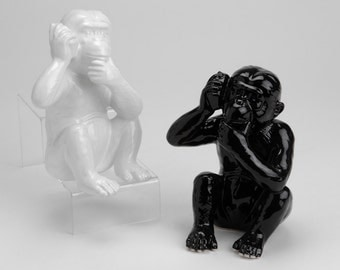 Statue of monkey, WHITE ceramic, for decoration or collection