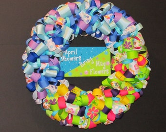 April Showers Bring May Flowers - Ribbon Wreath
