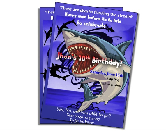 Boys Shark Birthday Party Invitation Swimming Birthday Boys Pool - Free shark birthday invitation template