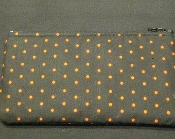 Orange Polka Dots on Black Pencil Case / Zipper Pouch #13