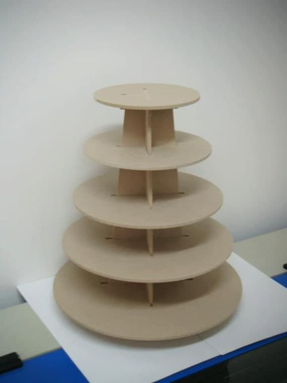 5 Tier Cupcake Stand Made Of Mdf Wood Round Shape By
