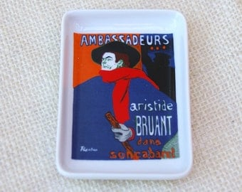 "Limoges Pin Dish from Toulouse Lautrec "" Ambassadeurs """