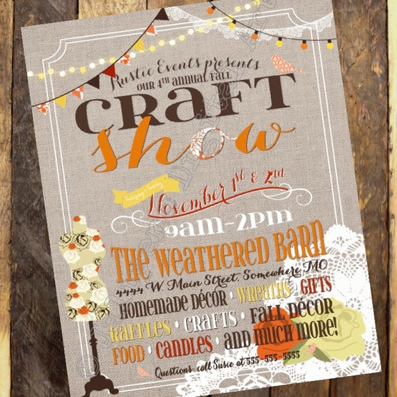 Fall craft show printable poster flyer invitation by jalipeno for Free craft show listings