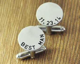 Custom Best Man Cuff Links - Personalized Wedding Gift Custom Wedding Date Cufflinks - Custom Gift for Groomsmen - Round Cuff Link