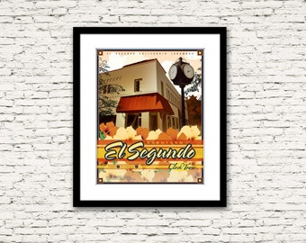 Downtown El Segundo California Clock Tower Print 16x20