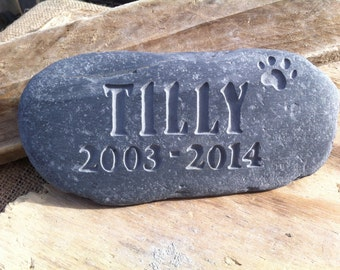Dog, Cat or pet memorial stone, grave marker, personalised in hand carved Cornish stone