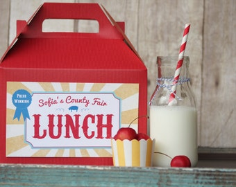 Set 15 Red Gable Lunch boxes with custom labels - County Fair Box Lunch