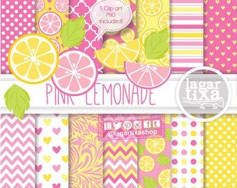 Pink Lemonade Lemon Digital Paper background textures patterns damask Card Making Scrapbook Supplies Printables Supplies by Lagartixa