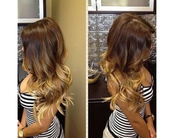 "Honey Ombre 20"" 220grams clip ins"