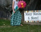Navy and Mint Chevron Women's Maxi Skirt