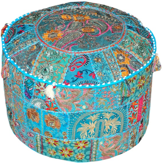 bohemian round indian ottoman patchwork pouf by beinggypsy. Black Bedroom Furniture Sets. Home Design Ideas