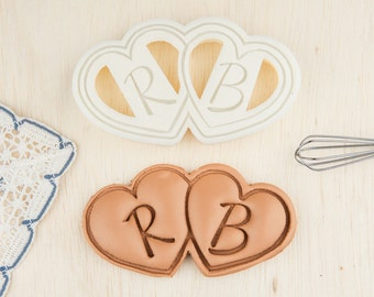Valentines Day Cookie Cutter Double Heart Shaped Cookies Personalized