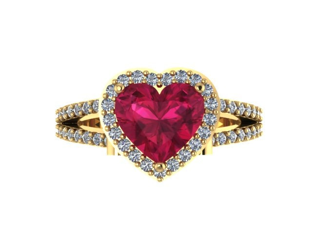 Ruby Engagement Ring Diamond Wedding Ring Heart Shaped Red