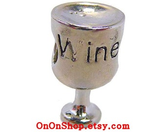 Wine Glass Charm Bead, Hash Necklace HHH ON-ON,  Silver Metal, 3 eighths inch tall (11mm)