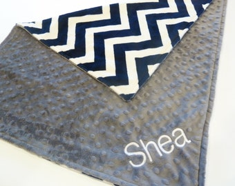Personalized Baby Blanket -  Baby Boy Chevron Stroller blanket - Custom Made - You Choose Minky Color and Blanket Size - Navy, gray